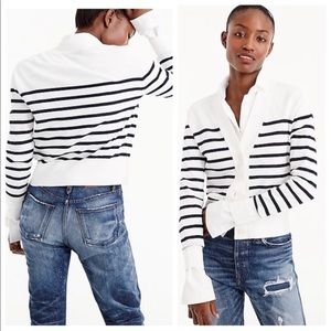 J. Crew Cropped Lightweight Cardigan in Stripe XXL